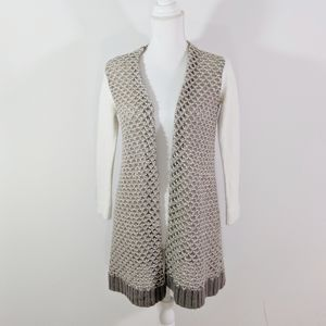 hinge Angora Wool Tan White Open Cardigan